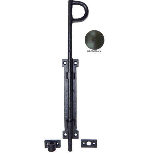 Agave Ironworks LA009-01 Cane Bolt 18-in Flat Black Gate Latch