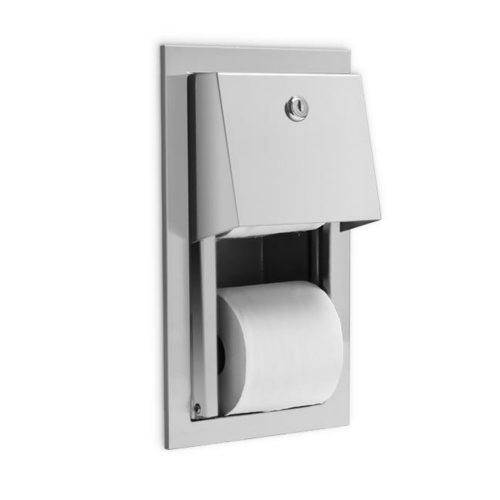 AJW U841 Dual Hooded Toilet Tissue Dispenser w/Auto Reserve - Recessed - Non-Controlled