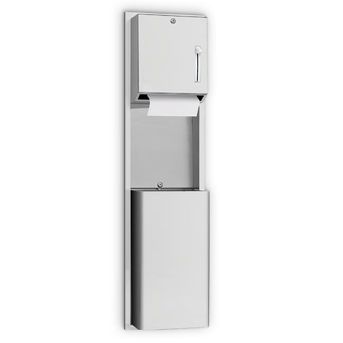 AJW U671AW-SM Lever Operated Roll Towel Dispenser & Waste Receptacle Combination w/ Extended Waste - Surface Mounted