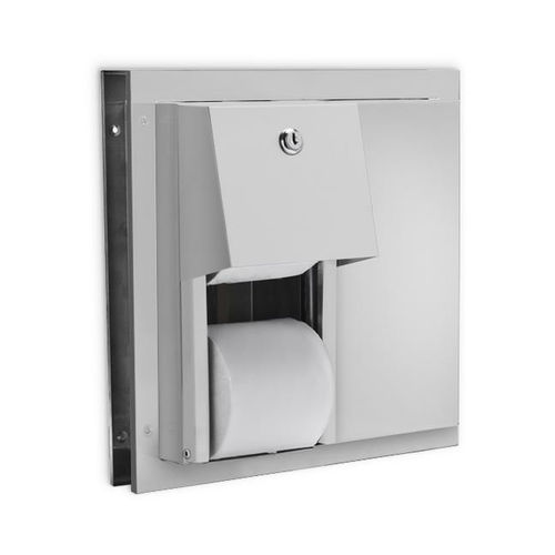 AJW U842 Dual Stall Hooded Toilet Tissue Dispenser w/Auto Reserve - Parition Mounted - Non-Controlled