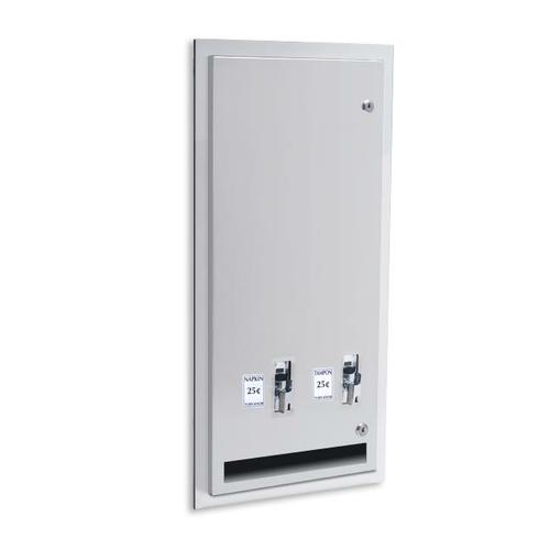 AJW U526-10 Sanitary Napkin/Tampon Dispenser - 10 cent Operation - Recessed