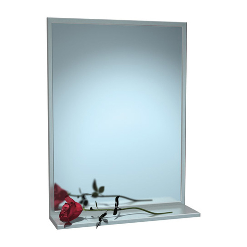 ASI 0625-1820 Mirror - Stainless Steel, Chan-Lok Frame w/ Shelf - Plate Glass - 18