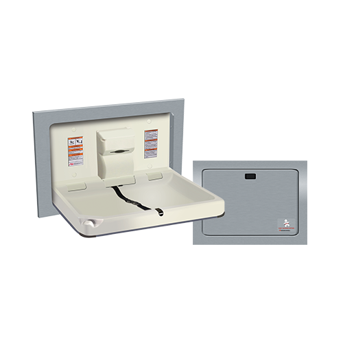 ASI 9018 Baby Changing Station, Horizontal – Stainless Steel, Recessed