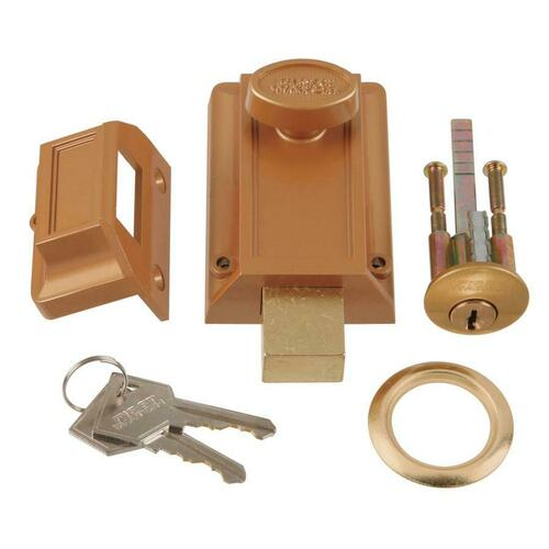 First Watch 1110 Night Latch & Locking Cylinder, Brass Tone