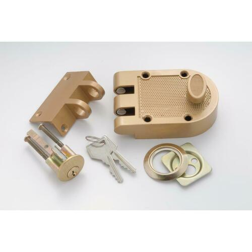 First Watch 1120 Single Cylinder Interlocking Deadbolt, Brass Tone