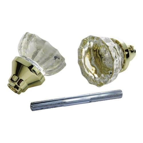 First Watch 1140 Glass Knob Set, Polished Brass