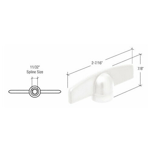 CRL EP22142 White T-Crank Handle with 11/32