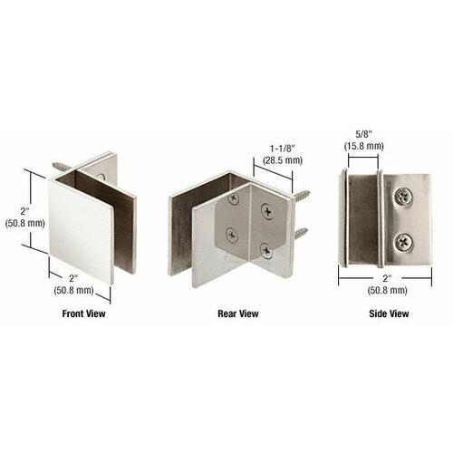 CRL MFCW10 Polished Stainless Wall Mount Square Mall Front Clamp