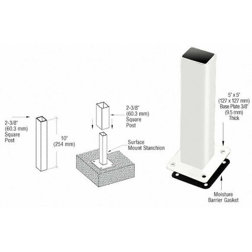 CRL PST5BPW Sky White ARS Surface Mount Stanchion