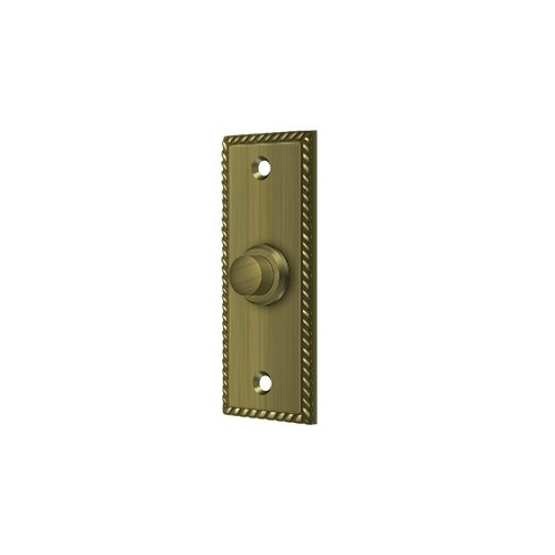 Deltana BBSR333U5 Bell Button, Rectangular Rope, Antique Brass