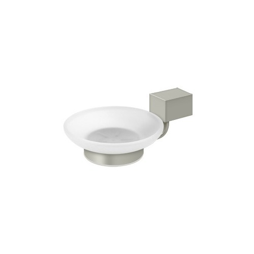Deltana ZA2012-15 Frosted Glass Soap Dish ZA Series, Brushed Nickel