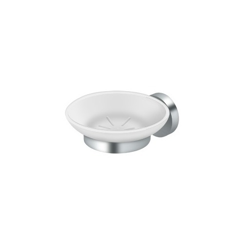 Deltana BBS2012-26 Frosted Glass Soap Dish BBS Series, Polished Chrome