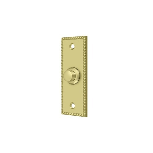 Deltana BBSR333U3 Bell Button, Rectangular Rope, Polished Brass