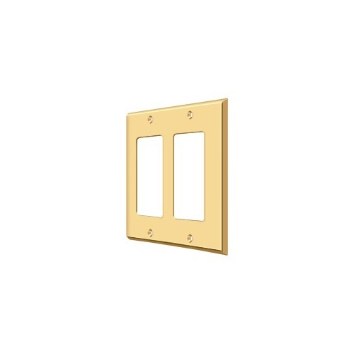 Deltana SWP4741CR003 Switch Plate, Double Rocker, PVD Polished Brass