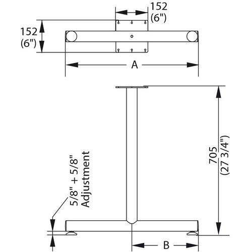 Hafele 635.54.901 T-Leg Style Side Base with Glides