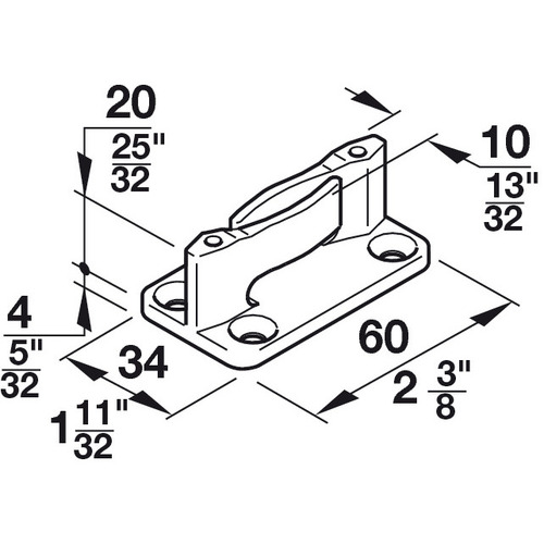Hafele 940.40.031 Floor Guide with Zero Clearance for Screw Fixing