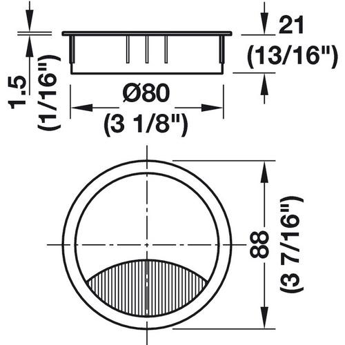 Hafele 631.31.414 Metal Cable Grommet