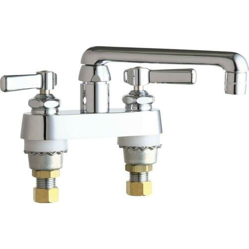 Chicago Faucets 891-ABCP Two Handle Lever Deck Mount Service Faucet, Polished Chrome