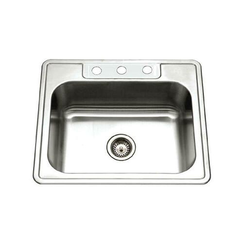 Houzer 2522-8BS3-1 Glowtone Series 3 Hole Stainless Steel Single Bowl Self-Rimming and Drop- Kitchen Sink in Lustrous Satin Stainless Steel