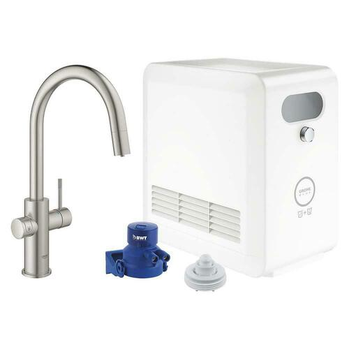 Grohe 31251DC2 Blue Professional Single Handle Pull Out Kitchen Faucet, SuperSteel