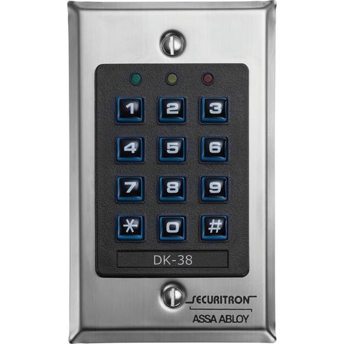 Securitron DK-38 Keypad Wiegand, Single Gang, Satin Stain