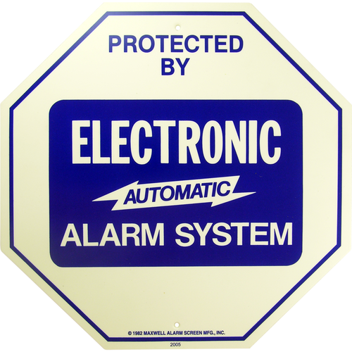 Maxwell Alarm Screen GS-102 Sign 11.25x11.25in Alarm System