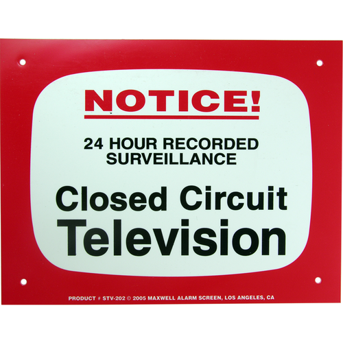Maxwell Alarm Screen STV-202 Sign 11in X 8.5in Warning Cctv