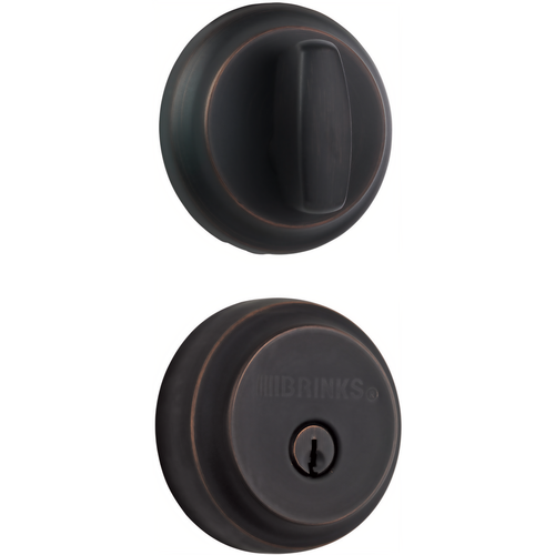 Brinks 23061-150 Almarrion Single Cylinder Deadbolt with Kwikset Keyway Tuscan Bronze Finish