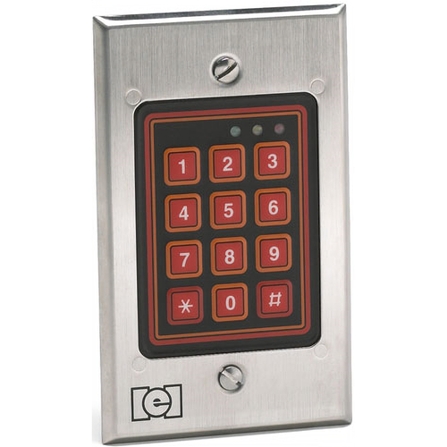 IEI 212W Indoor / Outdoor Flush Mounted Weather Resistant Keypad for 120 Users Satin Stainless Steel Finish