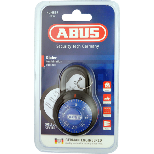 Abus 7-8/50C-78813 Blue Dial Combo Padlock 2in Wide