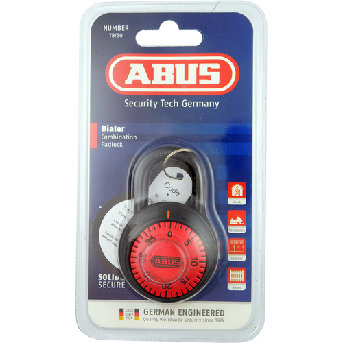 Abus 78/50C-78812 Red Dial Combo Padlock 2in Wide