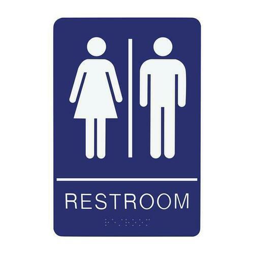 Jacknob 130791 Sign Restroom Unisex - Braille - Blue Acrylic