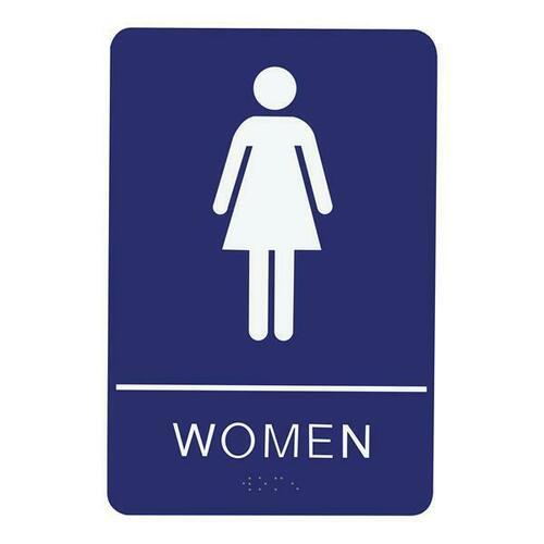 Jacknob 130790 Sign Restroom Women - Braille - Blue Acrylic
