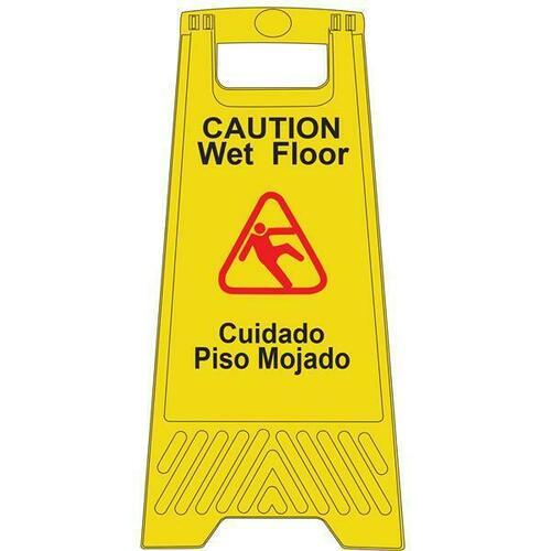 Jacknob 130814 Sign Caution Wet Floor Yellow 25