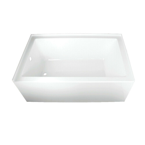 Kingston Brass VTAP603622L 60-Inch Acrylic Alcove Tub with Left Hand Drain Hole, White