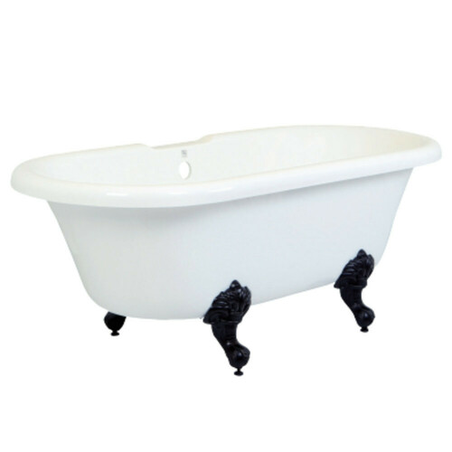 Kingston Brass VTDS672924H5 67-Inch Acrylic Double Ended Clawfoot Tub (No Faucet Drillings), White/Oil Rubbed Bronze