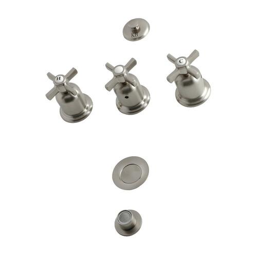 Kingston Brass KB6328ZX 3-Handle Bidet Faucet, Brushed Nickel
