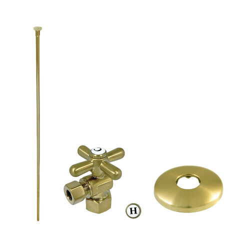 Kingston Brass KTK107P Trimscape Toilet Supply Kit Combo 1/2-Inch IPS X 3/8-Inch Comp Outlet, Brushed Brass