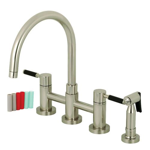 Kingston Brass KS8278DKLBS Concord Two-Handle Bridge Kitchen Faucet with Brass Side Sprayer, Brushed Nickel