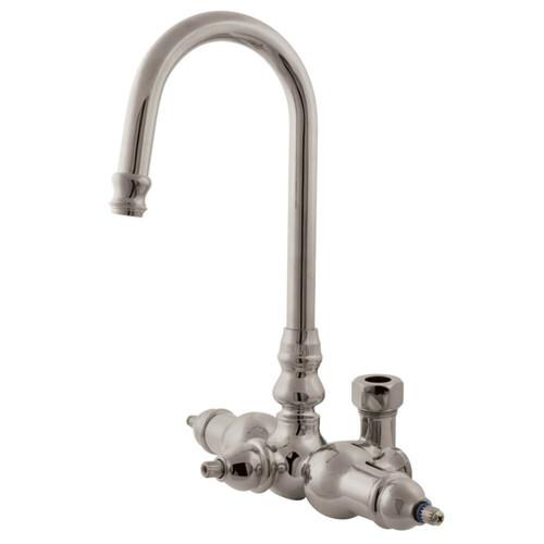 Kingston Brass ABT200-8 Vintage Gooseneck Faucet With Back Outlet & Diverter, Brushed Nickel