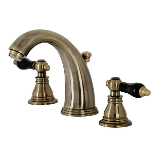 Kingston Brass KB983AKLAB Duchess Widespread Bathroom Faucet with Plastic Pop-Up, Antique Brass