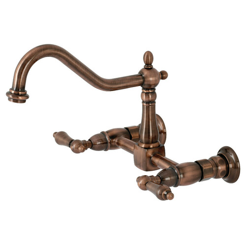 Kingston Brass KS124ALAC Heritage Two-Handle Wall Mount Bridge Kitchen Faucet, Antique Copper