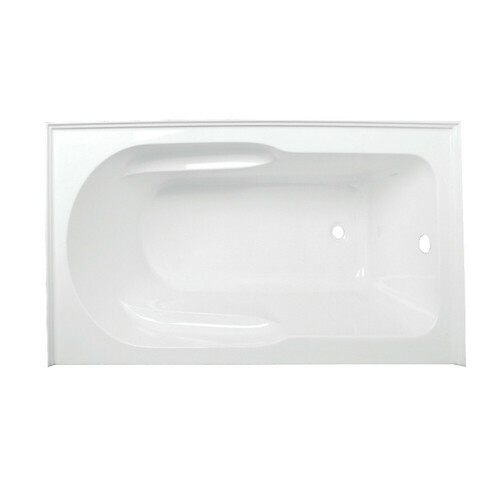 Kingston Brass VTAP603022R 60-Inch Acrylic Anti-Skid Alcove Tub with Right Hand Drain Hole, White