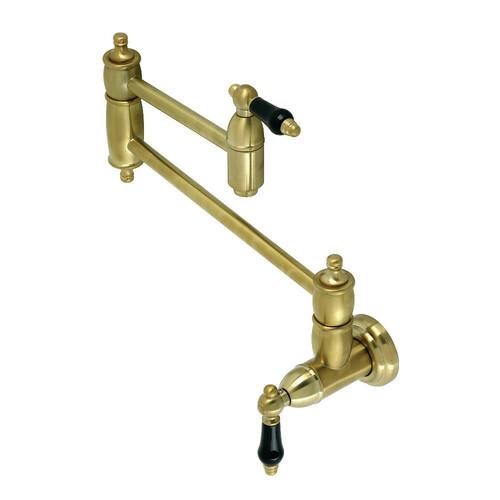 Kingston Brass KS3107PKL Duchess Wall Mount Pot Filler, Brushed Brass