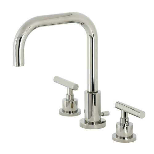 Kingston Brass FSC8939CML Manhattan Widespread Bathroom Faucet with Brass Pop-Up, Polished Nickel