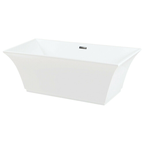 Kingston Brass VTSQ673024 67-Inch Acrylic Freestanding Tub with Drain, White