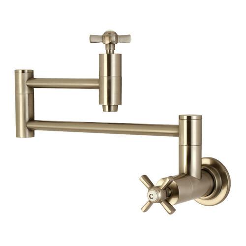 Kingston Brass KS8108ZX Millennium Wall Mount Pot Filler Kitchen Faucet, Brushed Nickel