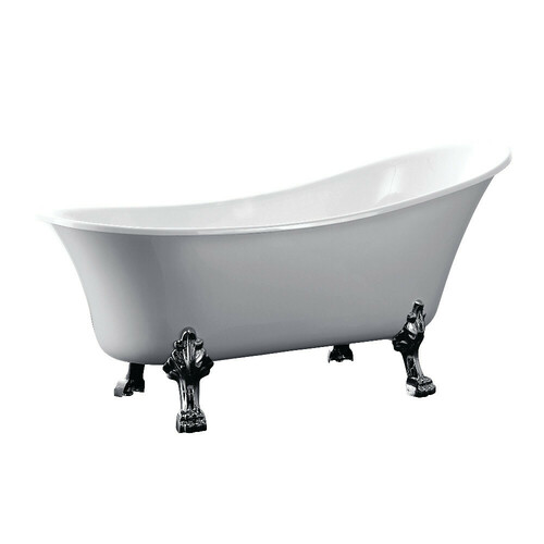Kingston Brass VTND512824C1 51-Inch Acrylic Single Slipper Clawfoot Tub (No Faucet Drillings), White/Polished Chrome