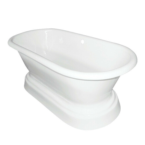 Kingston Brass VCTND663025 66-Inch Cast Iron Double Ended Pedestal Tub (No Faucet Drillings), White