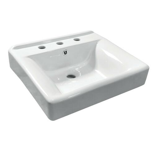 Kingston Brass EV2018W38 Concord Ceramic Recessed Drop-In Bathroom Sink, White